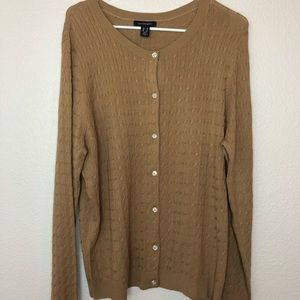 NWT lands end tan cable knit cardigan sweater